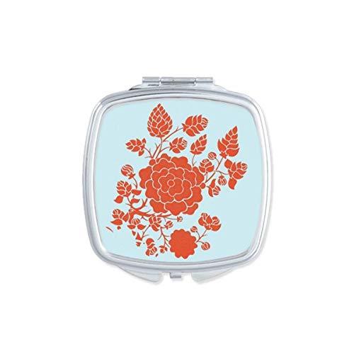 DIYthinker Fleur Rouge Plante modèle Rose Miroir carré Maquillage Compact Portable Mignon Miroirs de Poche à la Main Cadeau Multicolore