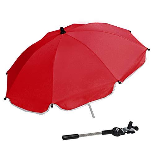 F Fityle Universal Paraguas para Carrito, Sombrilla para Cochecito de bebé, UV 50 + Protección Solar - Rojo