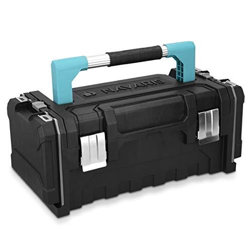 Navaris caja de herramientas de plástico - Organizador con 2 cierres de acero y 2 bandejas extraíbles - Maletín para bricolaje con asa de aluminio