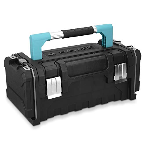 Navaris Cassetta attrezzi 20' 2 scomparti - Valigetta lavoro porta utensili chiusure acciaio manico alluminio - 2x scomparto minuteria viti tasselli