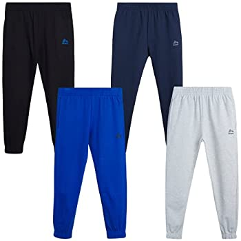 RBX Boys' Sweatpants – 4 Pack French Terry Active Jogger Pants  Size  4-20  Size 10/12 Heather Grey/Navy/Blue/Black