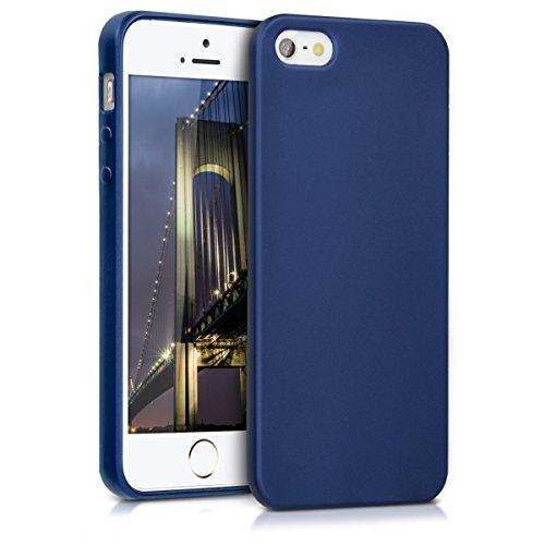 kwmobile Custodia Compatibile con Apple iPhone SE (1.Gen 2016) / 5 / 5S - Cover Silicone TPU Effetto Metallizzato - Protezione Back Case Morbida Blu Metallizzato