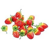 ACAMPTAR 20 Artificiale Ornamento Rosso Fragola - Frutta Finta
