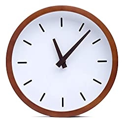 Driini Modern Wood Analog Wall Clock (9) - Battery Operated with Silent Sweep Movement - Small Decorative Wooden Clocks for Bedrooms, Bathroom, Kitchen, Living Room, Office or Classroom