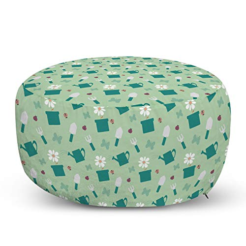Ambesonne Garden Art Pouf Cover with Zipper, Colorful Gardening Tools Pattern with Flowerpot Watering Pot and Ladybugs, Soft Decorative Fabric Unstuffed Case, 30' W X 17.3' L, Pale Green Teal