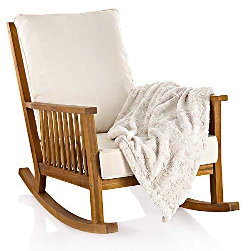 Pureday Schaukelstuhl - inklusive Kissen - outdoorgeeignet - Akazienholz