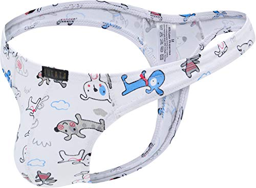 iKingsky Men's Cartoon Cotton Thong Underwear Lovely Mens T-Back Under Panties (Small, Dog)