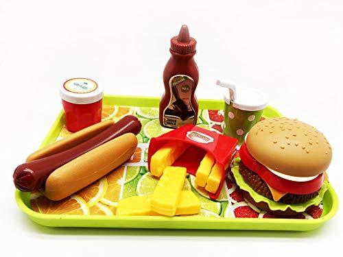 GiftExpress Burger & Hot Dog Fast Food Cooking Play Set for Kids with Hamburger, Fries, Hot Dog, Coke, Ketchup, Milk, Sauce and Tray