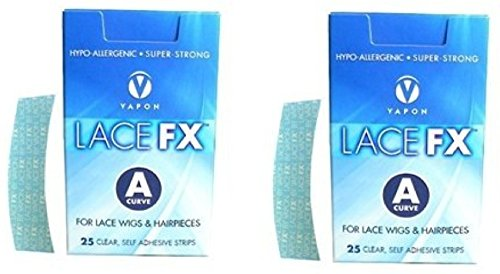 Lace FX A Curve Tape Hypo-allergenic Wig Hair Piece Adhesive Tape - 2 Packs by Vapon