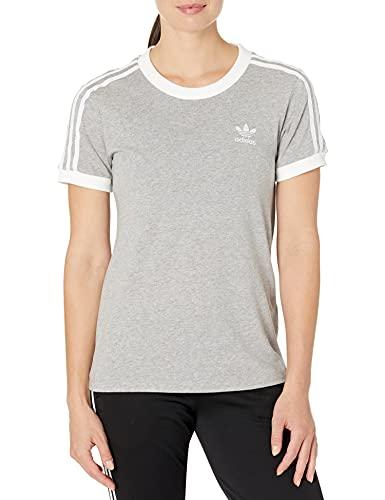 adidas Originals Women's Adicolor Classics 3-Stripes Tee, Medium Grey Heather/White