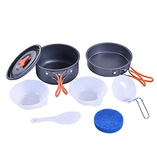 Tauzveok Kit de Desastre de Utensilios de Cocina para Acampar, ollas y sartenes Plegables Ligeros de Aluminio y Plegables para 1-2 Persona de Viaje de Viaje de Viaje,Negro,7 pcs