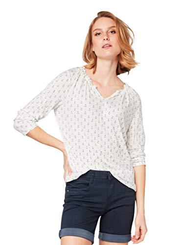 TOM TAILOR Damen 1007952 T-Shirt, Elfenbein (Offwhite Anchor Desi 16451), (Herstellergröße: XX-Large)
