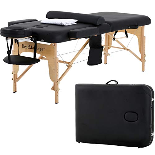 Massage Table Massage Bed SPA Bed 2 Fold Massage Table Heigh Adjustable 73''...