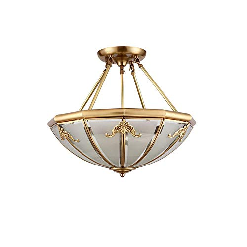 Lámpara de araña de montaje semi empotrada vintage de 4 luces E27 Accesorio de iluminación Entrada de luz de techo de vidrio Pasillo redondo Luz de techo cercana con forma de cuenco Shade-A