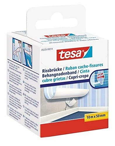tesa Rissbrücke - Hochelastisches, selbstklebendes Reparaturband zum Überdecken von Bohrlöchern und Rissen im Putz - ganz ohne Spachteln - 10 m x 50 mm