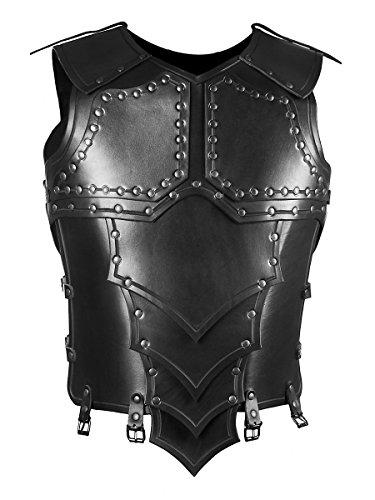 Andracor - Handgefertigte Drachenreiter-Rüstung / Torso aus echtem Leder für Krieger, Söldner und Drachenreiter - LARP Mittelalter, Fantasy & Cosplay - Schwarz