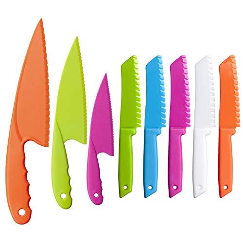 MAZYPO Knives for Kids 8-Piece Nylon Kitchen Baking Knife Set, Perfect Toddler's Safe Knife, Lettuce Knife and Bread, Salad Kitchen Knives