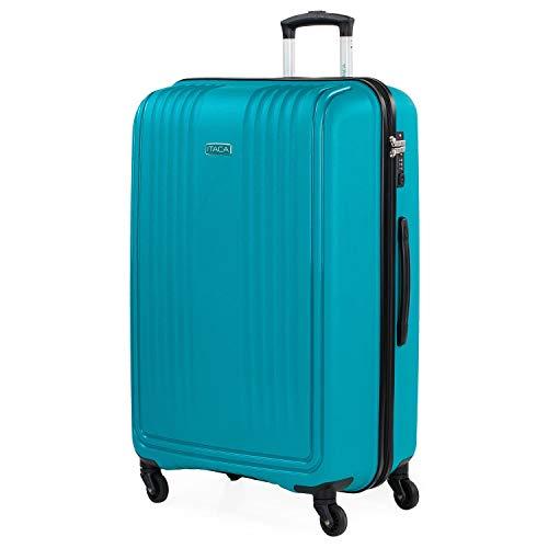 ITACA - Maleta de Viaje Rígida de Polipropileno con Cerradura de Seguridad TSA 4 Ruedas Multidirección Ligera y Resistente Ramaño Grande 760370, Color Turquesa
