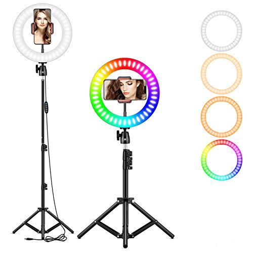 25,4 cm RGB Selfie-Ringlicht, LED-Ringlicht 3200–6500 K, mit Stativ und Handy-Halterung für Live-Stream/Make-Up/YouTube/TikTok/Fotografie/Videoaufnahmen, kompatibel mit iPhone & Android-Handys