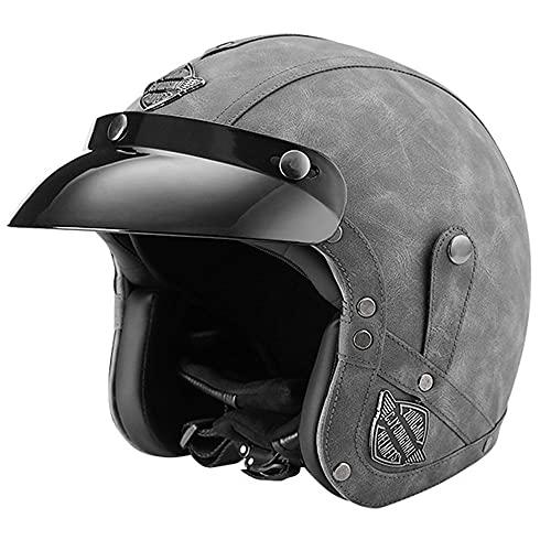 TALLKING Casco de Motocicleta, Medio Casco de Moto de Moto Universal de Cara Abierta de Cuero de PU Casco Semi-Integral para Moto con Visera Parasol Dot ECE Homologado 56-64CM