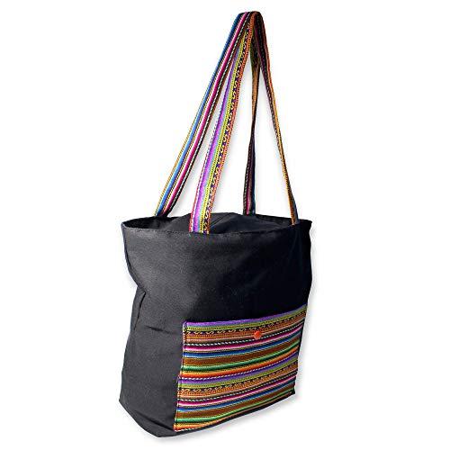 Bolso Tote negro con forro lila