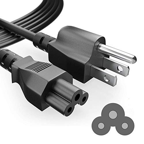 PowerSource 6 Foot Long 3 Prong AC-Laptop-Power-Cord Cable for Dell HP Asus Toshiba Lenovo Acer Samsung Laptop Notebook Computer Charger IEC-60320 IEC320 IEC C5 to NEMA 5-15P