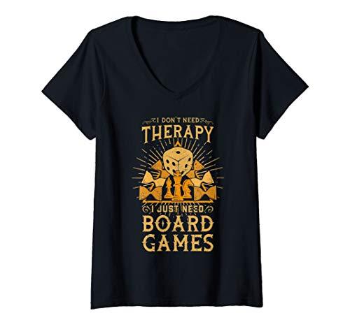 Damen Ich brauche keine Therapie, ich brauche nur Brettspiele T-Shirt mit V-Ausschnitt