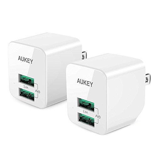 【2個セット】AUKEY USB充電器 ACアダプター 2ポート 超小型 折りたたみ式 軽量 コンパクト スマホ充電器 A...