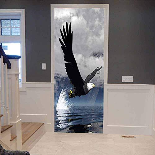 TACBZ 3D Türaufkleber Schlafzimmer Türen Renovierung 95X215Cm Abstrakter Ozeanhimmel Tier Fliegender Adler Tür Aufkleber Wohnzimmer Wandaufkleber Tapetensticker Fensterbild Wandaufkleber Hausdekoratio