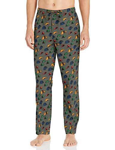 Goodthreads Marca Amazon Pantalón de Pijama de Popelina elástico para Hombre, Estampado de Tienda de campaña, XXXL