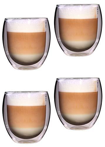 Feelino 4X 400ml Rondo XXL doppelwandiges Teeglas/Kaffeeglas, edle und extra große Thermogläser mit Schwebe-Effekt in Geschenkkartons