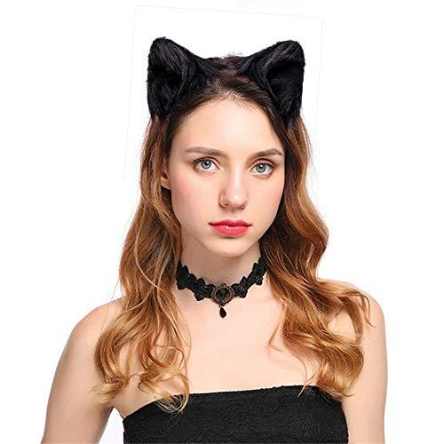 Dodheah Orejas de Gato Orejas de Zorro Diadema Mujer Nias para Cosplay Disfraz de Halloween Carnaval Negras