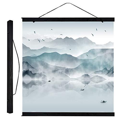 Modernes magnetisches hölzernes Foto-Bilderrahmen-DIY Plakat-Rolle druckt Gestaltungselement-Aufhänger-Schwarz-Farbe(30cm)