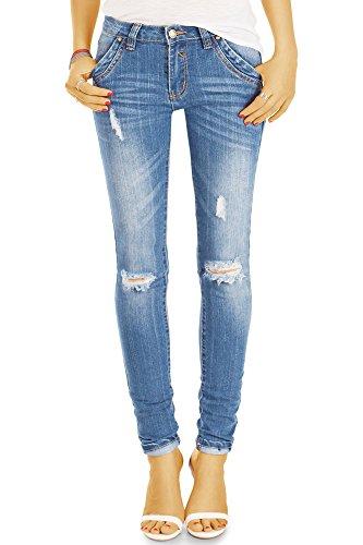 bestyledberlin Damen Röhrenjeans, Aufgerissene Skinny Jeans, Ripped Knee Basic Jeans j15k-1 40/L