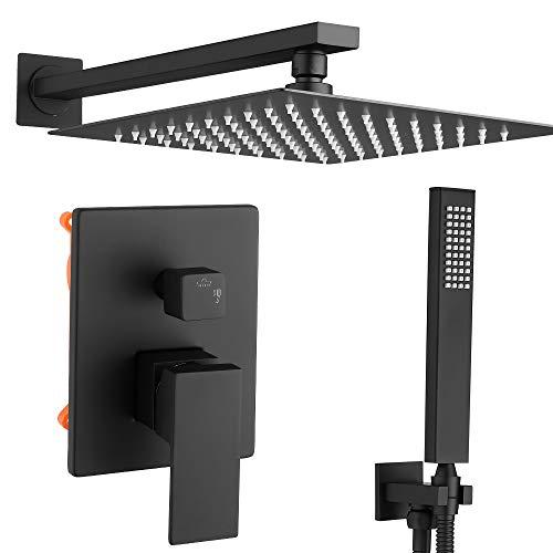 COVESUN Duschsystem Unterputz mit Regendusche 25x25cm - Schwarz Duschset mit 2 Funktionen Unterputz Armatur, Kopfbrause Rainshower und Handbrause