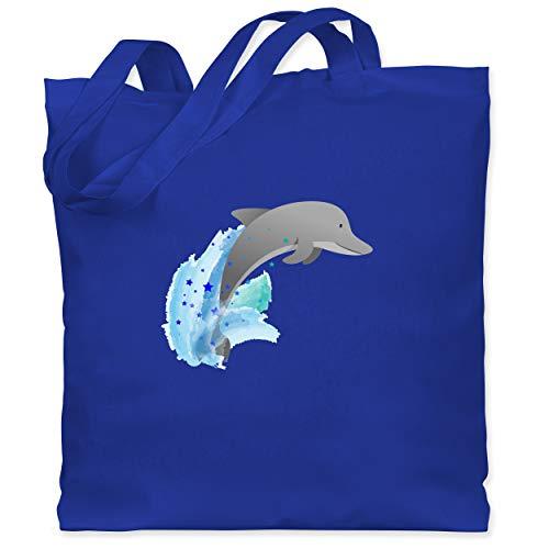 Shirtracer Tiermotive Kind - Kleiner Delfin - Unisize - Royalblau - Geschenk - WM101 - Stoffbeutel aus Baumwolle Jutebeutel lange Henkel