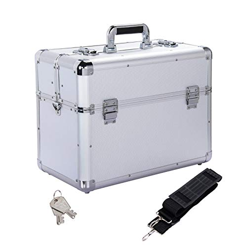 Yaheetech Werkzeugkoffer Werkzeugkasten Alukoffer leer Etagenkoffer Transportkoffer Angelkoffer abschließbar Silber