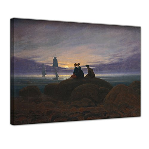 Keilrahmenbild Caspar David Friedrich Mondaufgang am Meer - 120x90cm quer - Alte Meister Berühmte Gemälde Leinwandbild Kunstdruck Bild auf Leinwand