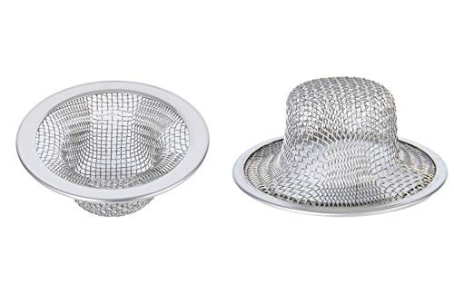 Product Image of the 2.75'' Diameter Mesh 304 Stainless Steel Sink Strainer Hair Catcher Stopper Bathtub Shower Drain Hole Filter (2Pack)