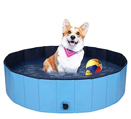 QNINE - Piscina per cani, 120 x 30 cm, pieghevole, per animali domestici, antiscivolo, in PVC per esterni, per cani e bambini, piscina per bambini