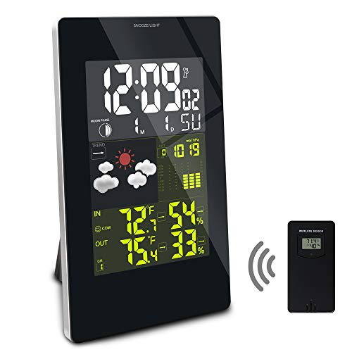 JJTGS Weather Station Digital Weather Forecast Station Wireless Indoor Outdoor Thermometer with LCD Screen Temperature Alerts Humidity Monitoring for Home Use