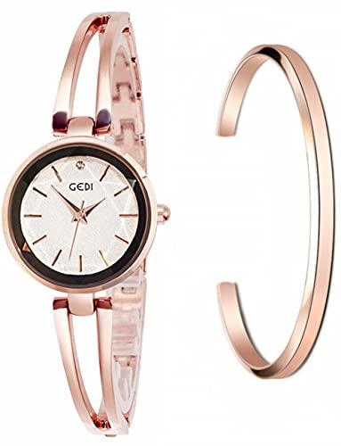 GEDI レディース 腕時計 ブレスレットウオッチ ブレスレット風 スワロフスキー (B-ローズゴールド & 白)