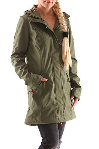 Blutsgeschwister Wild Weather Long Softshell-Anorak (XL, Oliv)