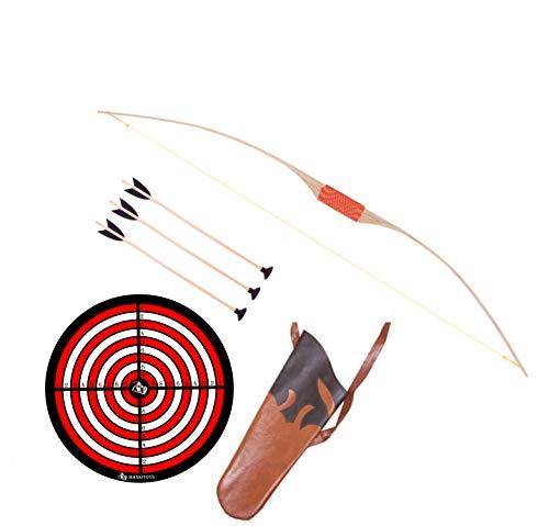 mankitoys Juego de arco infantil de madera de 120 cm, 3 flechas con ventosa y diana, carcaj, arco infantil a partir de 6 años, gran robustez