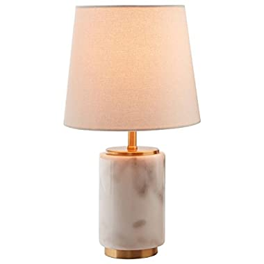Rivet Modern Marble Mini Lamp With Bulb, 14  H, White Marble, Brass