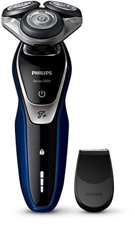 Philips Series 5000 - S5572/06 - AquaTouch Rasoio Elettrico AquaTec Wet & Dry, Lame MultiPrecision, Funzione Turbo+, Testina Flex 5 Direzioni, Rifinitore di Precisione, Battery-powered, Blu