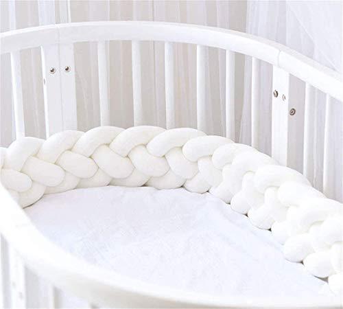 Baby Crib Bumper 4 Weave Bumper Braid Pillow Cushion Bed Snake Braided Bumper Decoration for Crib Cot Newborn Gift Cradle Decor (3M(118.1 Inch), White)