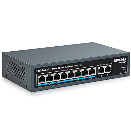 NICGIGA 10 Port PoE Switch mit 8 Ports 10/100Mbps PoE+@120W, 2 Gigabit Uplink Ports, VLAN Modus, Robustes lüfterloses Metallgehäuse für Desktop/Wand Montage, Plug and Play, Unmanaged(FS0820GP)
