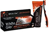 White Glo Deep Stain Remover Whitening Toothpaste + Charcoal Infused Flosser Tip Toothbrush, 5.2 Ounce