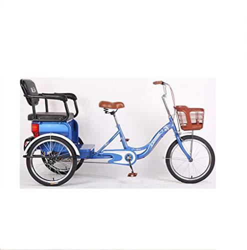 20 Zoll Dreirad Erwachsene 3-Rad klappbarer Sitz Last tragende Dreirad Hochcarbon Stahl Single-Speed mit Kettenversteller Klappbare Karosserie
